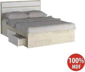 Cama de Casal Com 4 Gavetas 100% MDF 22870 Marfim Areia/Branco - Foscarini