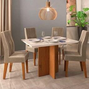 Mesa de Jantar Aura Rústico Terrara Off White + 4 Cadeiras Manuela Veludo Kraft