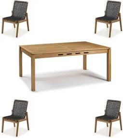 Conjunto Trama Mesa 220cm + Cadeiras Corda Preta - 60500 Sun House