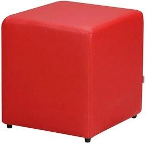 Puff Decorativo Quadrado Corino Vermelho 34X34X34Cm Orthovida