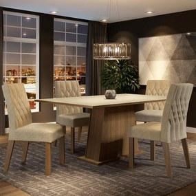 Conjunto Sala de Jantar Madesa Ingrid Mesa Tampo de Madeira com 4 Cadeiras Rustic/Crema/Imperial Cor:Rustic/Crema/Imperial