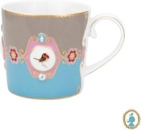 Caneca Pequena Medallion Azul e Cáqui Love Birds Pip Studio