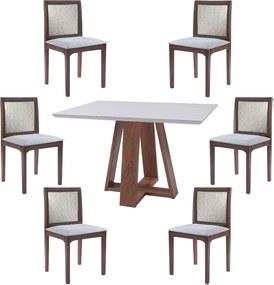 Conjunto Mesa Shell com Tampo de Vidro 160x90 cm e 6 Cadeiras Steve Amêndoa - Gran Belo