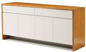 Buffet Silva Laca Off White Brilhante com Carvalho Mel 1,80 MT (LARG) - 49398 Sun House