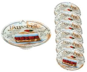 Jogo 7 Peças 1 Prato Bolo Com Pé  30cm E 6 Pratos Sobremesa 17cm Patisserie 35435 Bon Gourmet
