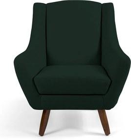 Poltrona Decorativa Sala de Estar Pés de Madeira Naomi Algodão Verde Escuro - Gran Belo
