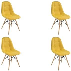 Kit 4 Cadeiras Decorativas Sala e Escritório Cadenna PU Sintético Amarela - Gran Belo