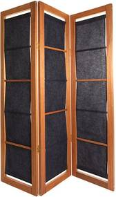 Biombo 3 Asas Dominoes Tecido - Wood Prime MR 248781