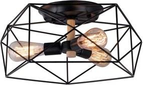 Plafon Holder em Aço Aramado 3xE27 Preto - Taschibra