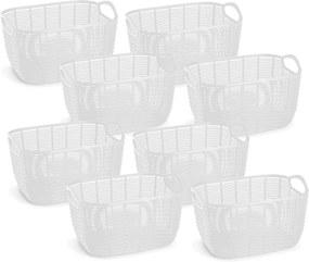 8 Cestos Organizadores de Plástico Vime Médio Branco 21x29cm