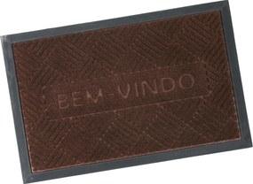 Tapete Porta Emborrachado Antiderrapante 40cm x 60cm Bem-Vindo - Marrom