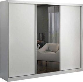 Guarda-Roupa Casal 3 Portas De Correr 1 Espelho Branco M Foscarini