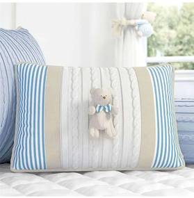 Almofada Azul Bege Retangular Tricot Urso 43cm Grã