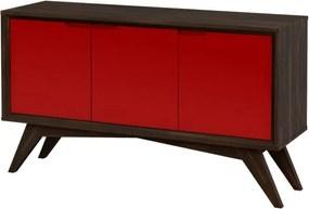Buffet Serafim 3 Portas Envelhecido e Vermelho - Wood Prime MP 27640