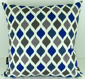 Capa almofada LYON Veludo estampado Balão Azul 43x43cm