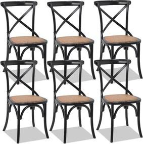 Kit 06 Cadeiras Para Sala de Jantar Cozinha Blair Preto Provençal - Gran Belo