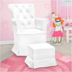 Poltrona de Amamentação Fixa com Puff Paola Corino Branco - Phoenix Baby
