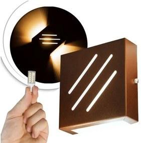 Arandela Frisada Flat Externa c/ LED 5W Incluso   Cor da Luz: 2.700k   Tam: 14x14cm   Cor: Marrom   Soq: G9   Mod: Wolverine