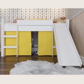Cama Infantil Escorregador e Escada Amarelo Lilies Móveis