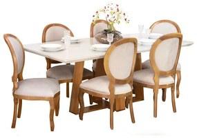 Conjunto Sala de Jantar Mesa Coyle com 6 Cadeiras Medalhão Liso - Wood Prime 44668