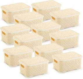 12 Caixas Organizadoras Rattan Pequena Cor Creme 15,3 x 20,5 x 9,5 cm
