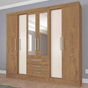 Guarda-Roupa Casal Paris 6 Portas 3 Gavetas com Espelho Canelato Rústico/Natura Brilho - Atualle Móveis