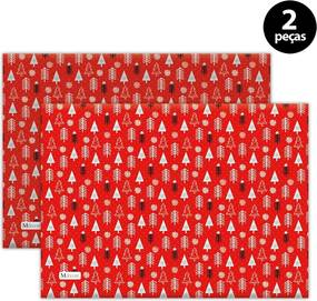 Jogo Americano Mdecore Natal Pinheiros 40x28 cm Vermelho2pçs