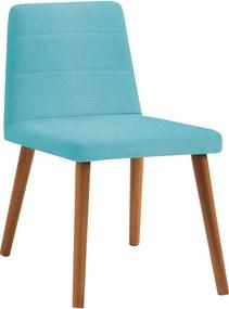 Cadeira Yasmin Base Gota Madeira Tauari Linho Daf Azul