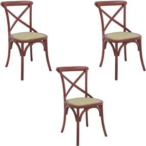 kit 3 Cadeiras Decorativas Sala De Jantar Cozinha Danna Rattan Natural Vermelha - Gran Belo