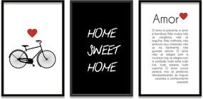 Quadro Oppen House 60x120cm Amor é Paciente Moldura Preta Com Vidro - Oppen House Decora