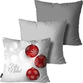 Kit 3 Almofadas Mdecore de Natal Decorativas Cinza  35x35