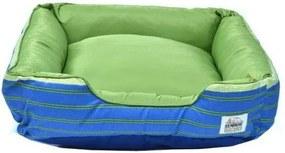 Cama Pet Quadrada - Composê - Tamanho M - Azul/Verde