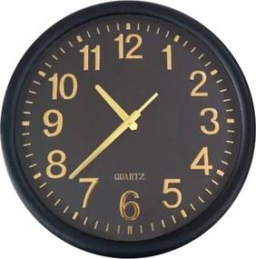 Relógio De Parede Preto/Dourado Decorativo Redondo 35x4CM