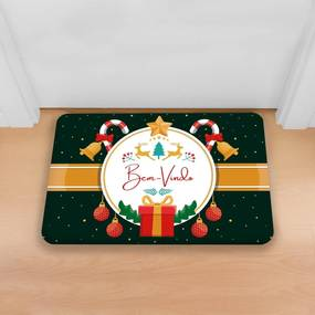 Tapete Decorativo Mdecore Natal Bem-Vindo Verde40x60cm