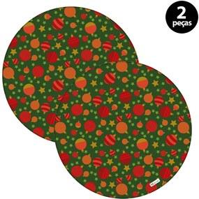 Sousplat Mdecore Natal Bolas de Natal 35x35cm Verde2pçs
