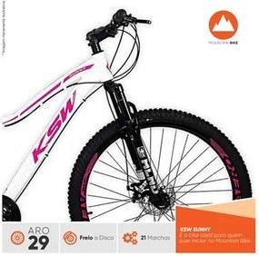 Bicicleta Feminina Sunny Aro 29 Quadro 17 Alumínio 21v Suspensão Freio a Disco Branco/Rosa - KSW