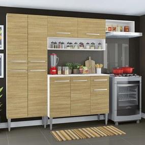 Cozinha Compacta Madesa Emilly Top com Armário e Balcão Branco/Carvalho Cor:Branco/Carvalho