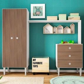 Guarda-roupa Infantil 2 Portas Com Comoda Meu Fofinho Montana - Art In Móveis