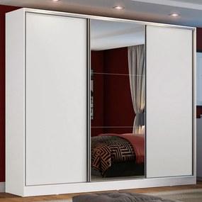 Guarda Roupa Casal 100% MDF Madesa Zurique 3 Portas de Correr com Espelho Branco Cor:Branco