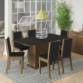 Conjunto Sala de Jantar Madesa Ohana Mesa Tampo de Madeira com 6 Cadeiras Rustic/Preto/Sintético Preto Cor:Rustic/Preto/Sintético Preto