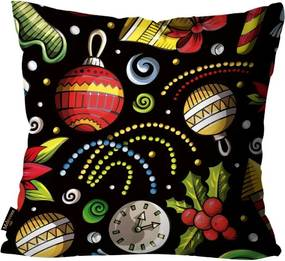 Capa para Almofada Premium Cetim Mdecore Natal Bola de Natal Preta45x45cm