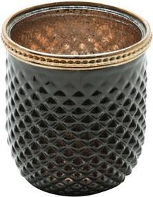 Cachepot De Vidro E Zamac Bristol Preto E Dourado 8,5X9Cm Lyor