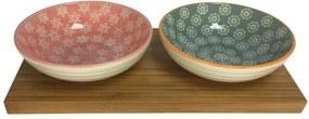 Petisqueira De Cerâmica Redonda Com Suporte Bambu 2Peças