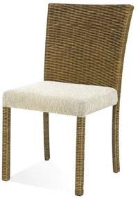 Cadeira Canton Assento cor Branco com Base Aluminio Revestido em Junco - 44730 Sun House