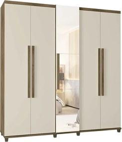 Guarda Roupa Com Espelho 5 Portas Munique Rv Móveis Freijó/off White