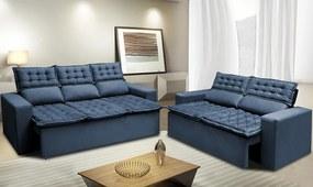 Conjunto De Sofá 3 E 2 Lugares Retrátil E Reclinável Cama Inbox Slim 2,00x1,50m Velusoft Azul
