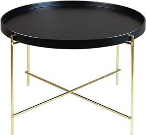 Mesa de Centro Baixa Ammy Preto/Dourado em Aço Carbono