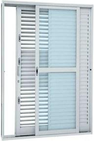 Porta Balcão de Correr Multiflex Aço - 3 Folhas - Branco Pratika Direita 217x160x16,5xm - 26350018 - Sasazaki - Sasazaki