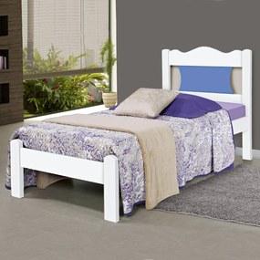 Cama de Solteiro Munique 100% Mdf 2102e/1 Branco/Azul - Gabrielli Móveis