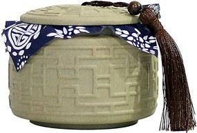 Potiche em Porcelana Trabalhada com Tecido Azul Areia D12cm x A10cm